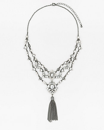 Gem & Tassel Collarbone Necklace