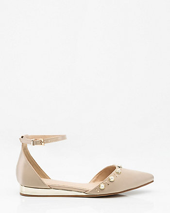 Pearl Embellished Pointy Toe d'Orsay Flat