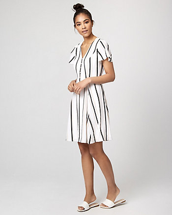 Stripe Crêpe de Chine V-Neck Dress