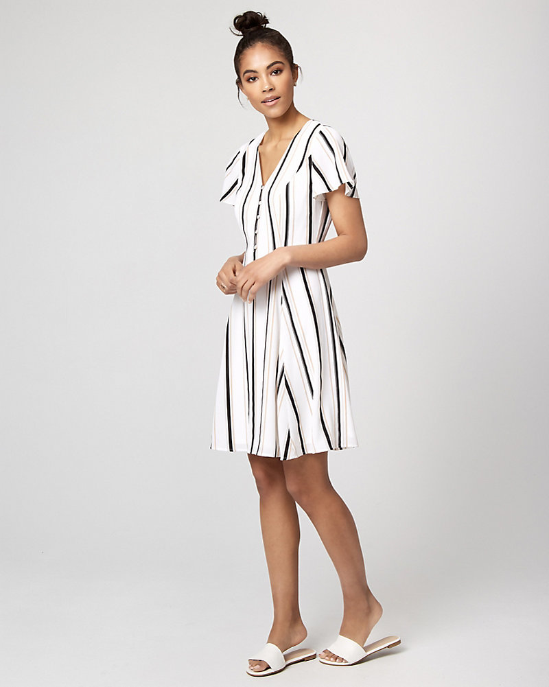c3ae1d63cbb7 Stripe Crêpe de Chine V-Neck Dress