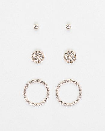 Set of Three Gem Earrings