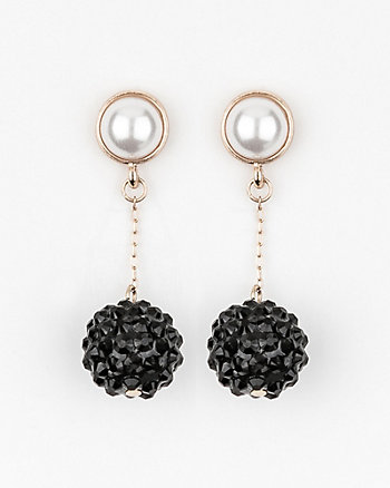 Gem & Pearl-Like Ball Drop Earrings