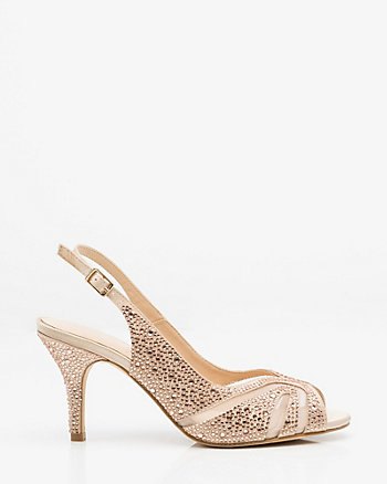 Jewel Embellished Satin & Mesh Slingback