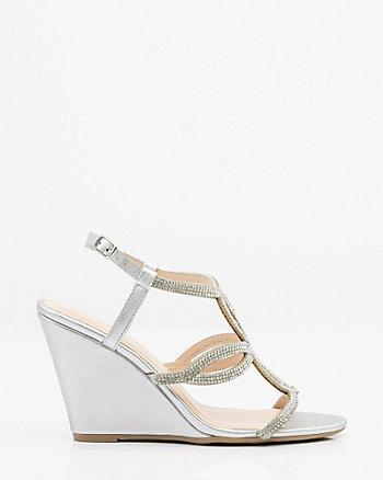 Jewel Embellished Metallic Wedge Sandal