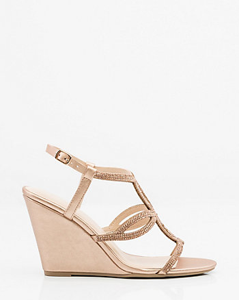 Jewel Embellished Metallic Wedge Sandal