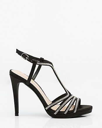 Jewel Embellished Satin T-Strap Sandal