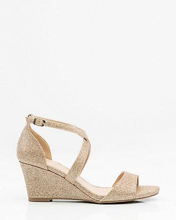 Glitter Mesh Criss-Cross Wedge Sandal