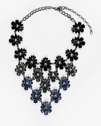 Floral Gem Bib Necklace
