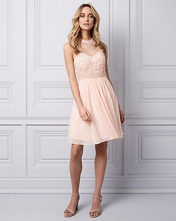 Beaded Chiffon Illusion Party Dress