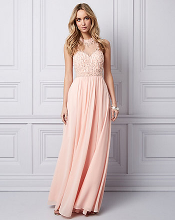 Embellished Chiffon Illusion Gown