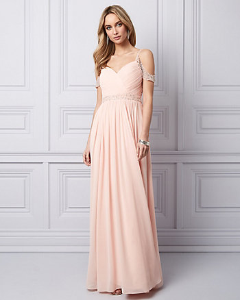 Embellished Chiffon Cold Shoulder Gown