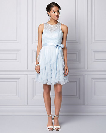 Lace & Sparkle Mesh Illusion Party Dress