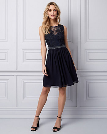 Lace & Chiffon Illusion Party Dress