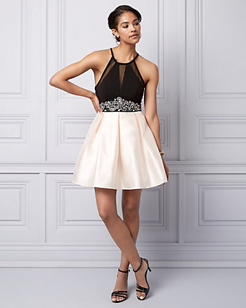 Satin Fit & Flare Party Dress