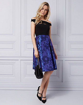Taffeta Off-the-Shoulder Cocktail Dress