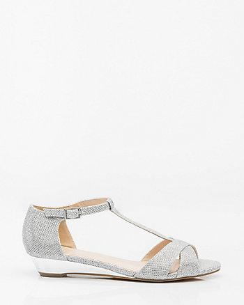 Glitter Mesh T-Strap Wedge Sandal