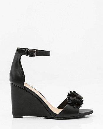 Floral Ankle Strap Wedge Sandal