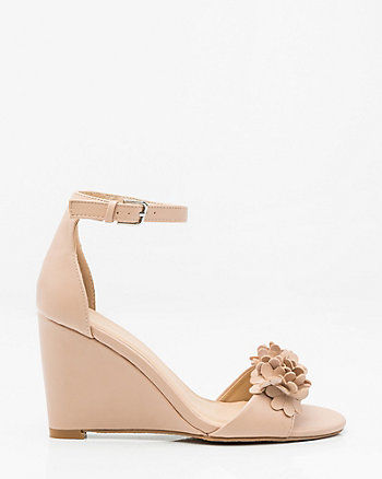 Floral Ankle Strap Wedge