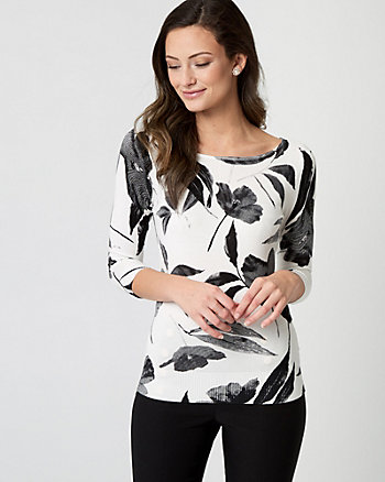 Floral Print Viscose Blend Sweater