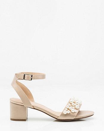 Pearl Embellished Satin Ankle Strap Sandal
