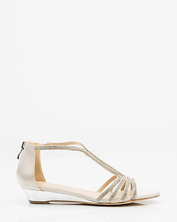 Jewel Embellished T-Strap Wedge Sandal
