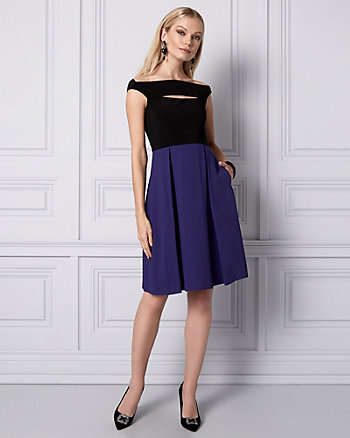 Crêpe Off-the-Shoulder Cocktail Dress