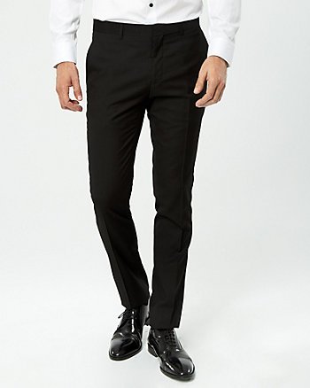 Viscose Blend & Satin Trim Slim Leg Pant