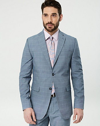 Windowpane Wool Blend Slim Fit Blazer