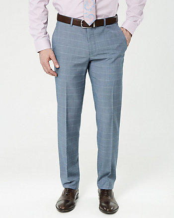 Windowpane Wool Blend Slim Leg Pant