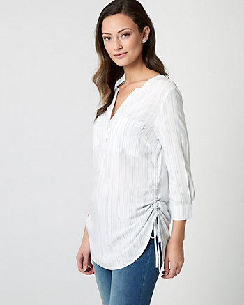 Shirred Stripe Challis Henley Blouse