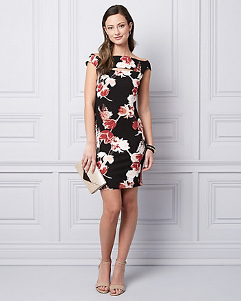 Floral Print Ponte Knit Cocktail Dress