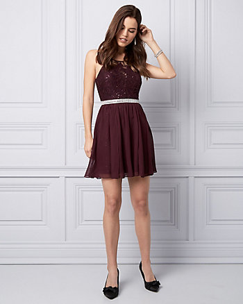 Sequin Lace & Chiffon Cocktail Dress