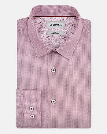 Geo Print Stretch Cotton Slim Fit Shirt