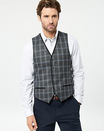 Check Print Woven Contemporary Fit Vest