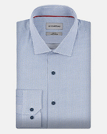 Geo Print Stretch Cotton Slim Fit Shirt