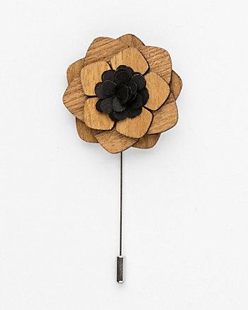 Floral Wood Lapel Pin