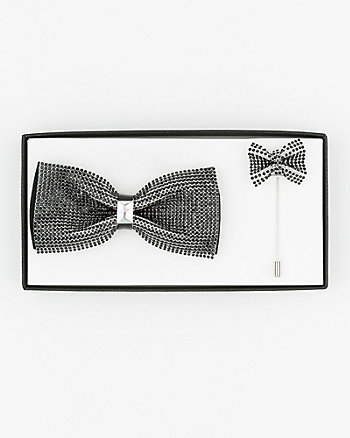 Rhinestone Bow Tie & Lapel Pin Set