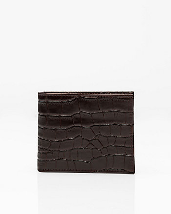 Croco-Embossed Leather Bifold Wallet