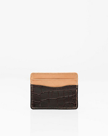 Croco-Embossed Leather Card Holder