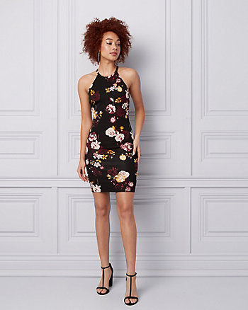 Floral Ponte Halter Cocktail Dress