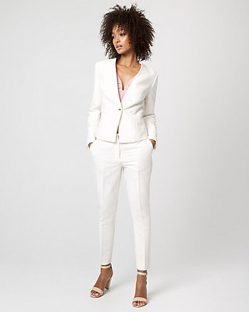 Viscose Blend Collarless Blazer