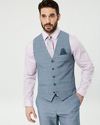Windowpane Wool Blend City Fit Vest
