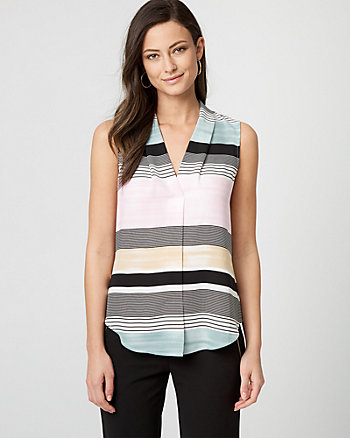 Stripe Shiny Twill V-Neck Blouse