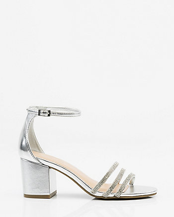 Jewelled & Metallic Ankle Strap Sandal