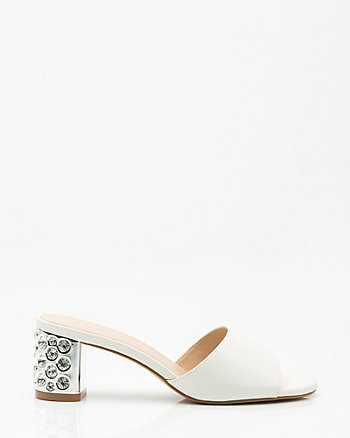 Jewel Embellished Block Heel Mule