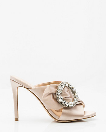 Brooch Embellished Satin Criss-Cross Mule
