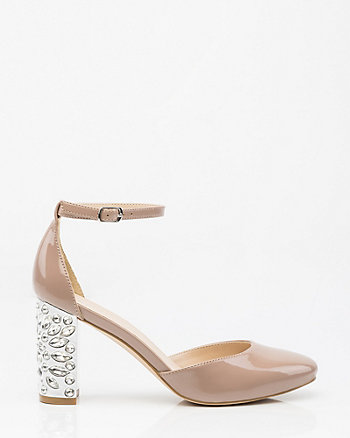 Embellished Block Heel Patent Pump