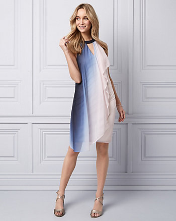 Ombré Knit Halter Cocktail Dress