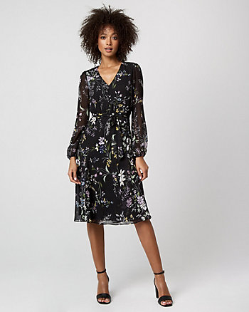 Floral Print Chiffon Midi Dress
