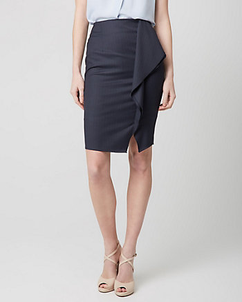 Stripe Viscose Blend Ruffle Pencil Skirt